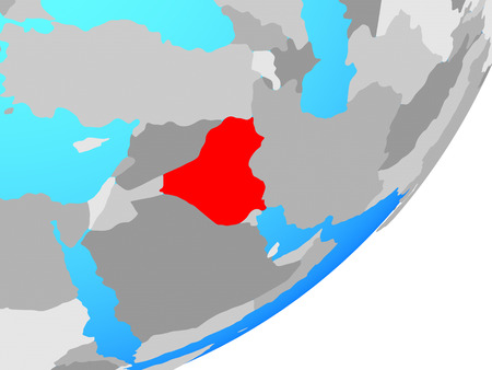 Iraq on blue political globe. 3D illustration.
