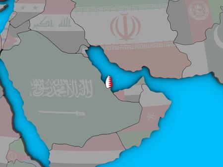 Qatar with embedded national flag on blue political 3D globe. 3D illustration.
