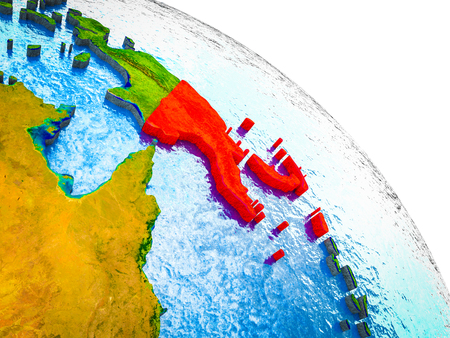 Papua New Guinea Highlighted on 3D Earth model with water and visible country borders. 3D illustration. Stock Photo