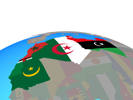 Maghreb region with national flags on political globe. 3D illustration. Stock Photo