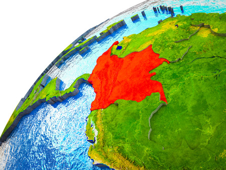 Colombia on 3D Earth model with visible country borders. 3D illustration.