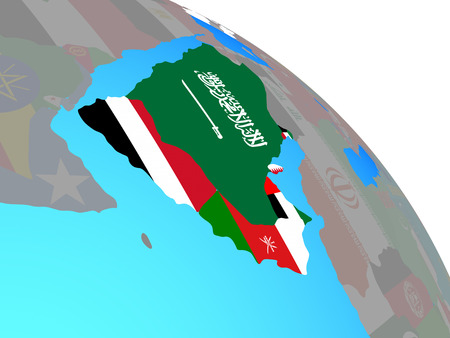 Arabia with national flags on simple blue political globe. 3D illustration. Stock Photo