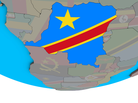 Dem Rep of Congo with embedded national flag on simple political 3D globe. 3D illustration. Standard-Bild - 109830250