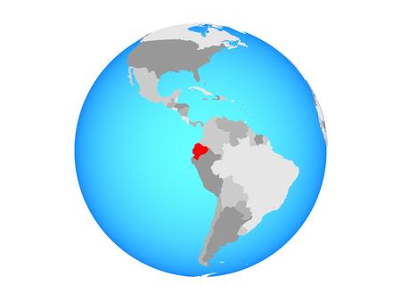 Ecuador on blue political globe. 3D illustration isolated on white background.