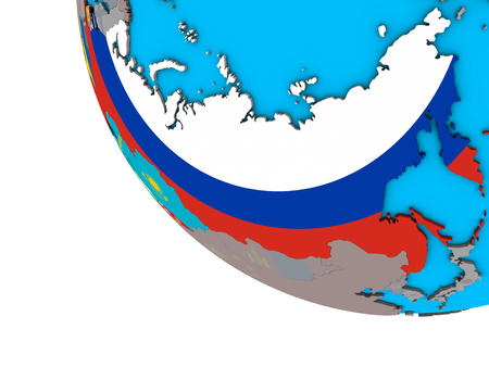 Former Soviet Union with embedded national flags on simple 3D globe. 3D illustration.