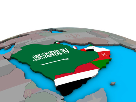 Arabia with embedded national flags on political 3D globe. 3D illustration.