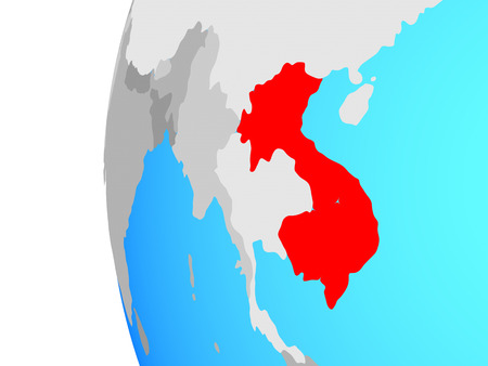 Indochina on blue political globe. 3D illustration. Reklamní fotografie