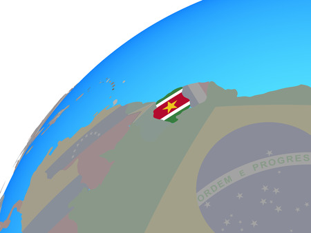 Suriname with embedded national flag on globe. 3D illustration. Stockfoto