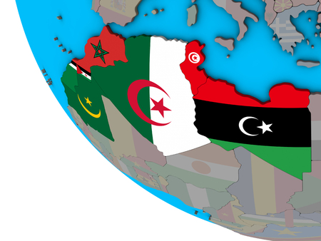 Maghreb region with embedded national flags on simple 3D globe. 3D illustration.