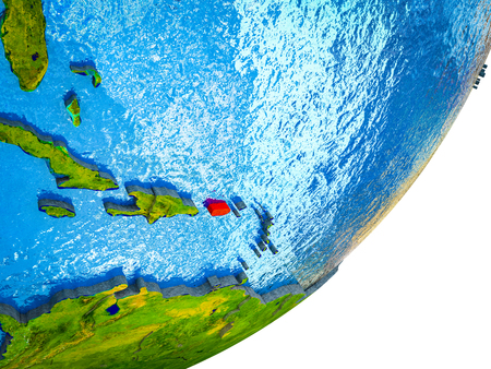 Puerto Rico on 3D model of Earth with water and divided countries. 3D illustration.