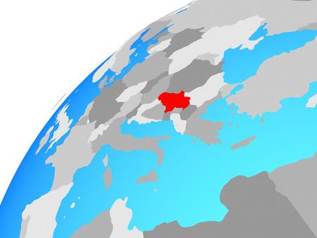 Serbia on globe. 3D illustration.