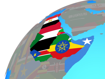 Northeast Africa with embedded national flags on globe. 3D illustration.