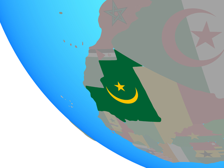 Mauritania with national flag on simple globe. 3D illustration.