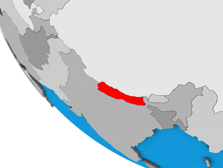 Nepal on simple 3D globe. 3D illustration. Фото со стока