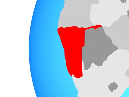 Namibia on blue political globe. 3D illustration.