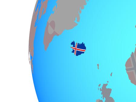 Iceland with embedded national flag on blue political globe. 3D illustration.