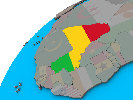 Mali with national flag on 3D globe. 3D illustration. Stock Photo