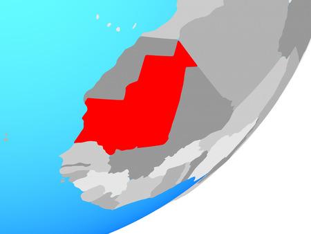 Mauritania on blue political globe. 3D illustration.