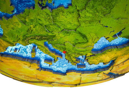 Montenegro on 3D Earth with divided countries and watery oceans. 3D illustration.