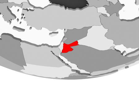 Jordan in red on grey political globe with transparent oceans. 3D illustration.