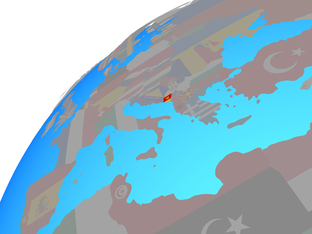 Montenegro with embedded national flag on globe. 3D illustration. 스톡 콘텐츠