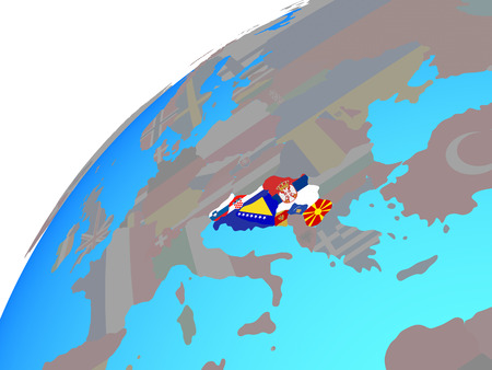 Former Yugoslavia with embedded national flags on globe. 3D illustration.