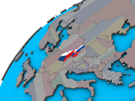 Former Czechoslovakia with national flags on 3D globe. 3D illustration.
