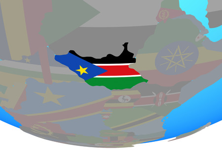 South Sudan with national flag on simple political globe. 3D illustration.
