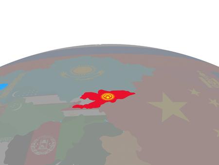 Kyrgyzstan with national flag on political globe. 3D illustration. Stock Photo