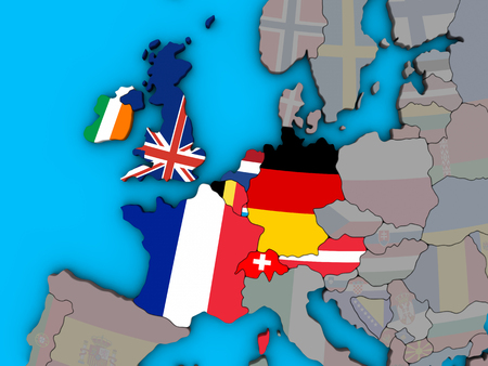 Western Europe with embedded national flags on blue political 3D globe. 3D illustration. Banco de Imagens - 109830844
