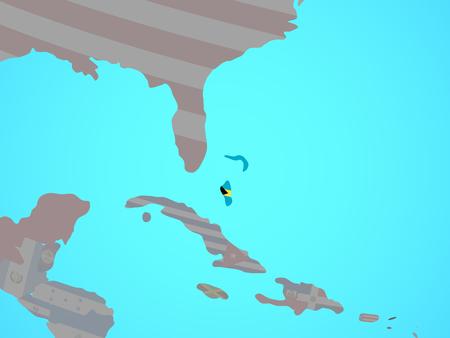 Bahamas with national flag on blue political globe. 3D illustration. Stock Photo