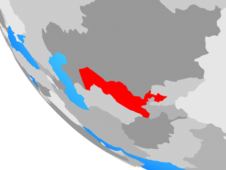 Uzbekistan on simple globe. 3D illustration.