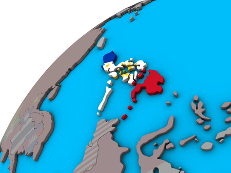 Philippines with national flag on 3D globe. 3D illustration.