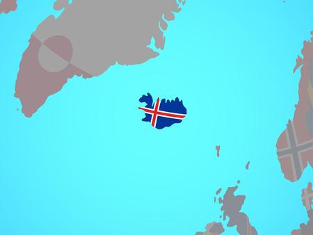 Iceland with national flag on blue political globe. 3D illustration.