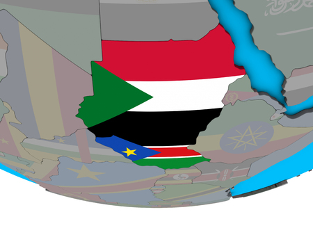 Former Sudan with embedded national flags on simple political 3D globe. 3D illustration.