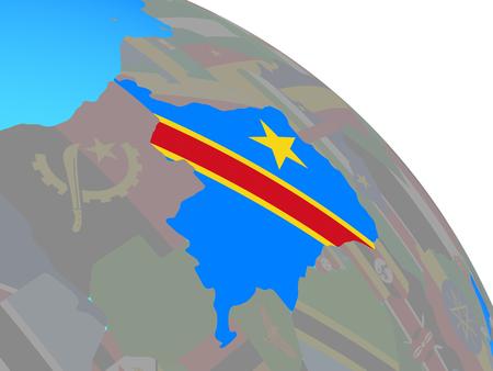 Dem Rep of Congo with national flag on simple blue political globe. 3D illustration. Banco de Imagens