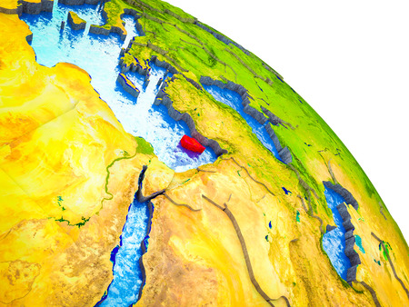 Cyprus Highlighted on 3D Earth model with water and visible country borders. 3D illustration. Imagens