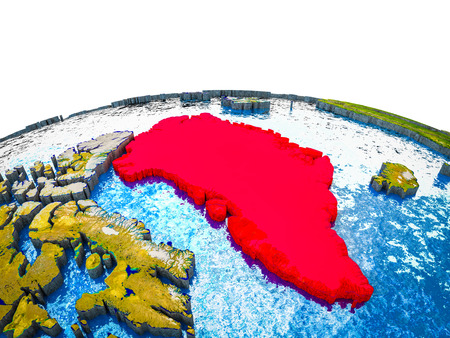 Greenland on 3D Earth with visible countries and blue oceans with waves. 3D illustration. Stockfoto