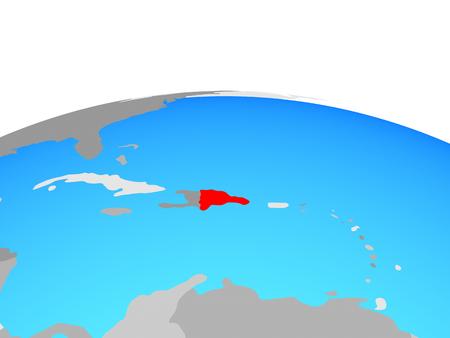 Dominican Republic on political globe. 3D illustration.