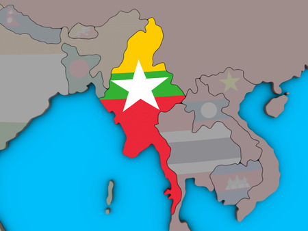 Myanmar with embedded national flag on blue political 3D globe. 3D illustration.