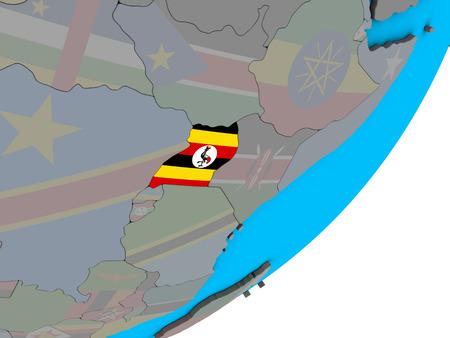 Uganda with national flag on blue political 3D globe. 3D illustration. Stockfoto