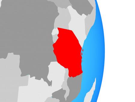 Tanzania on simple political globe. 3D illustration.