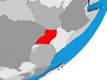 Uganda on blue political 3D globe. 3D illustration.