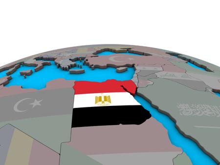 Egypt with embedded national flag on political 3D globe. 3D illustration.