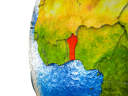 Benin highlighted on 3D Earth with visible countries and watery oceans. 3D illustration.