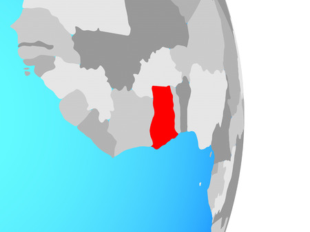 Ghana on simple political globe. 3D illustration.