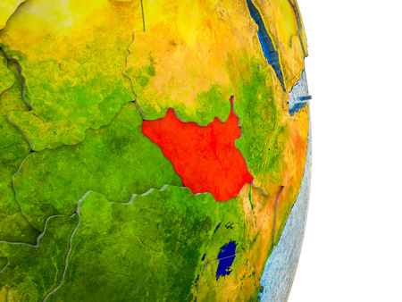 South Sudan on 3D model of Earth with divided countries and blue oceans. 3D illustration. 스톡 콘텐츠 - 110192627