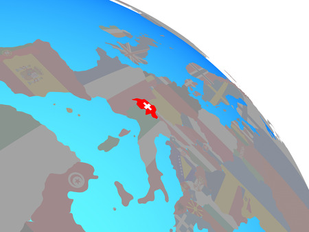 Switzerland with national flag on simple blue political globe. 3D illustration. Banque d'images - 110192685