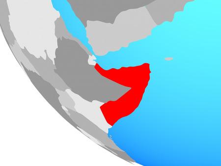 Somalia on simple globe. 3D illustration. Stockfoto