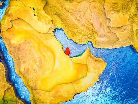 Qatar on model of 3D Earth with blue oceans and divided countries. 3D illustration.